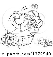 Cartoon Clipart Of A Black And White Hockey Player Or Fan Sitting In A Chair And Tossing Back Beer Cans Royalty Free Vector Illustration