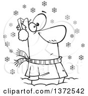 Cartoon Clipart Of A Black And White Man Stuck In Snow Watching Snowflakes Fall Down Royalty Free Vector Illustration by toonaday