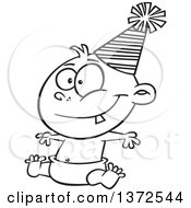 Cartoon Clipart Of A Black And White Happy New Year Baby Sitting In A Diaper And Wearing A Party Hat Royalty Free Vector Illustration