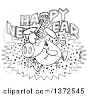 Cartoon Clipart Of A Black And White Hyper Pig Wearing A Party Hat And Jumping Over A Happy New Year Greeting Royalty Free Vector Illustration