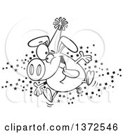 Cartoon Clipart Of A Black And White Hyper Pig Wearing A Party Hat And Celebrating The New Year Royalty Free Vector Illustration