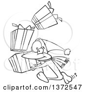 Cartoon Clipart Of A Black And White Christmas Penguin Running With A Stack Of Gifts Royalty Free Vector Illustration by toonaday