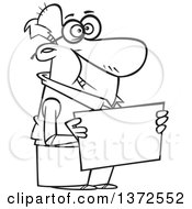 Cartoon Clipart Of A Black And White Happy Senior Man Holding A Blank Sign Royalty Free Vector Illustration