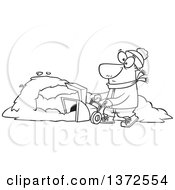 Cartoon Clipart Of A Black And White Man Operating A Snow Blower On A Winter Day Royalty Free Vector Illustration