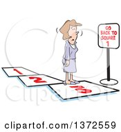 Clipart Of A Cartoon Caucasian Business Woman On A Path Facing A Go Back To Square 1 Sign Royalty Free Vector Illustration
