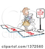 Clipart Of A Cartoon Caucasian Business Woman Carrying Paperwork On A Path Facing A Go Back To Square 1 Sign Royalty Free Vector Illustration