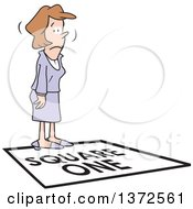 Clipart Of A Cartoon Caucasian Business Woman Standing On A Square One Tile Royalty Free Vector Illustration by Johnny Sajem