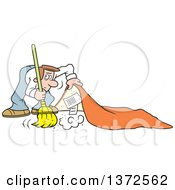 Clipart Of A Cartoon Caucasian Business Man Sweeping Secrets Under The Rug Royalty Free Vector Illustration by Johnny Sajem