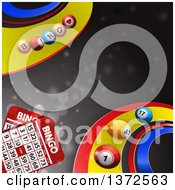 Clipart Of 3d Bingo Balls Rolling On Colorful Curves With Cards Over Gray And Flares Royalty Free Vector Illustration