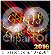 Clipart Of A Gold Happy New Year 2016 Greeting Over Diagonal Stripes And Flares Royalty Free Vector Illustration