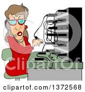 Cartoon Caucasian Switchboard Operator At Work