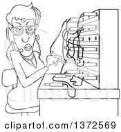 Cartoon Black And White Switchboard Operator At Work