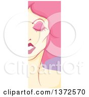 Clipart Of A Vertical Drag Queen Face Panel With Pink Hair Royalty Free Vector Illustration by BNP Design Studio
