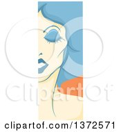Clipart Of A Vertical Drag Queen Face Panel With Blue Hair Royalty Free Vector Illustration