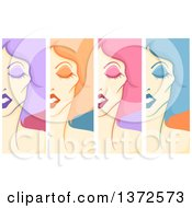 Clipart Of Drag Queen Faces Vertical Borders With Colorful Hair Royalty Free Vector Illustration by BNP Design Studio