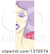 Clipart Of A Vertical Drag Queen Face Panel With Purple Hair Royalty Free Vector Illustration