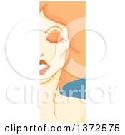 Clipart Of A Vertical Drag Queen Face Panel With Orange Hair Royalty Free Vector Illustration