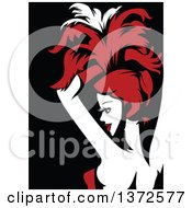 Clipart Of A Cabaret Performer In Red Black And White Royalty Free Vector Illustration