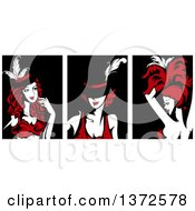 Clipart Of Cabaret Performers In Red Black And White Royalty Free Vector Illustration