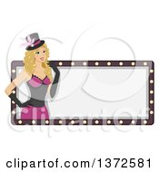 Clipart Of A Blond White Burlesque Woman Over A Blank Sign Royalty Free Vector Illustration