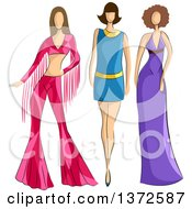 Clipart Of Faceless Caucasian Female Models Wearing 70s Styled Apparel Royalty Free Vector Illustration