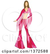 Clipart Of A Faceless Caucasian Female Model Wearing A Pink 70s Styled Shirt And Bell Bottoms Royalty Free Vector Illustration
