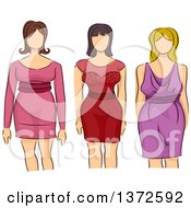 Clipart Of Sketched Faceless Caucasian Plus Size Models Wearing Dresses Royalty Free Vector Illustration