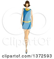 Clipart Of A Faceless Caucasian Female Model Wearing 70s Styled Dress Royalty Free Vector Illustration