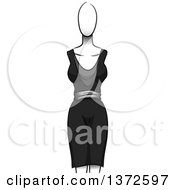 Clipart Of A Black Dress On A Mannequin Royalty Free Vector Illustration