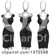 Clipart Of Black Dresses On Mannequins Royalty Free Vector Illustration