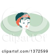 Poster, Art Print Of Retro Pinup Woman From The Shoulders Up Over A Green Oval