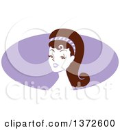 Poster, Art Print Of Retro Pinup Woman From The Shoulders Up Over A Purple Oval