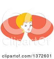 Poster, Art Print Of Retro Blond Pinup Woman From The Shoulders Up Over An Orange Oval