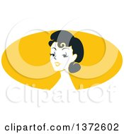 Poster, Art Print Of Retro Pinup Woman From The Shoulders Up Over A Yellow Oval