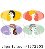 Poster, Art Print Of Retro Pinup Women From The Shoulders Up Over Colorful Ovals