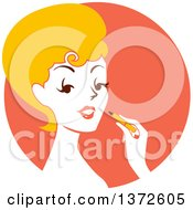 Clipart Of A Retro Blond Woman Applying Lipstick Over An Orange Circle Royalty Free Vector Illustration