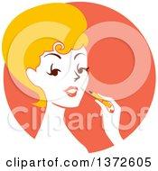 Retro Blond Woman Applying Lipstick Over An Orange Circle