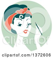 Clipart Of A Retro Woman Applying Eyeshadow Over A Green Circle Royalty Free Vector Illustration