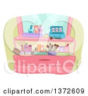 Clipart Of A Vanity Dresser With Makeup Royalty Free Vector Illustration by BNP Design Studio