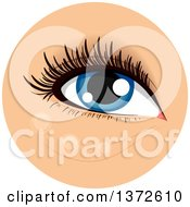 Clipart Of A Womans Blue Eye With Concealer Dotted Below It Royalty Free Vector Illustration
