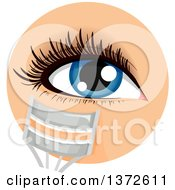 Clipart Of A Womans Blue Eye With A Lash Curler Royalty Free Vector Illustration