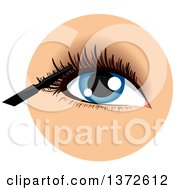 Clipart Of A Womans Blue Eye With A Mascara Wand Royalty Free Vector Illustration by BNP Design Studio