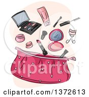 Clipart Of A Pink Cosmetic Bag With Makeup Royalty Free Vector Illustration