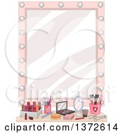 Vanity Mirror With Makeup On A Counter