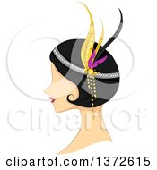 Clipart Of A Retro Flapper Woman In Profile Royalty Free Vector Illustration