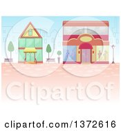 Clipart Of A City Behind Shops Royalty Free Vector Illustration
