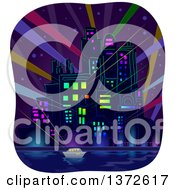 Clipart Of A City At Night With Strobe Lights Royalty Free Vector Illustration
