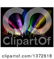 Clipart Of A City With Colorful Strobe Lights Royalty Free Vector Illustration