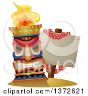 Clipart Of A Tiki Torch By A Blank Sign Draped In A Lei Of Flowers Royalty Free Vector Illustration by BNP Design Studio