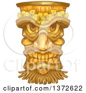 Clipart Of A Wooden Tiki Statue Royalty Free Vector Illustration